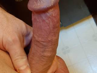 Hubby's out of his cage for a while... only for my pleasure though.  His tiny dick turns into a somewhat respectable cock when he gets excited, wouldn't you say?