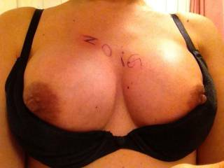 your your tits Liz! they are such a sexy shape with lovely big brown nipples for hard chewing and sucking xxxx even at work ;-)