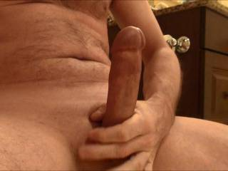 Mmmmm, I like your hot hard cock...looks nice and thick...let me sit on it and ride you to orgasm. Make it cum.....mmmm, nice, I'd love to lick it all up and suck the rest out of your delicious cock.  What a hot cum coated cock. mrs. K
