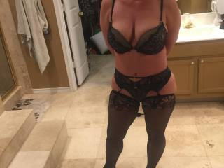 Hot in her sexy lingerie