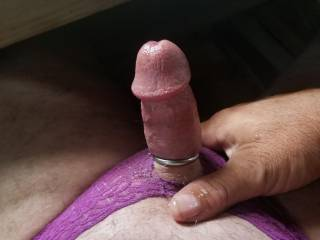Loving my purple pantys an cock ring this morning hope you guys do as well.