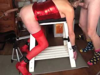 The Machine 3 part 1 of 3 - The first part is putting on something tarty, being tied to the bench and then sucking and fucking. Parts 2 and 3 have dildos, the machine, DP, A2M and throat fucking till I cum.