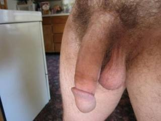 Nice looking cock and balls. Take another shot when a beautiful lady gets him hard.