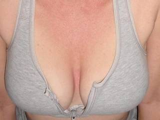 By all means, let your sexy tits out. We love looking at them.