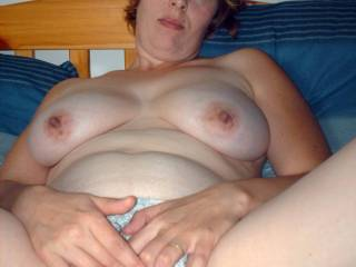 Gorgeous lady. Sweet hairy pussy and nice tits.