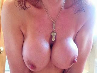 Do you like my necklace? Would you like to slide YOUR cock between my tits instead??  ;-)  xx