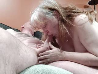 Mrs. Shutterbug58 took care of her man with a wonderful massage, finished off by draining her man. The missus craves cum, and she made sure that all his love juice was consumed. What a good woman.