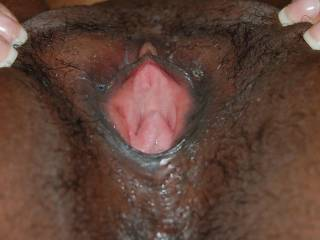 You just have a horny pussy. Love this pink hole between your brown lips. Unfortunately you missed my ejaculation a few days ago... I try to cum earlier next time :-)