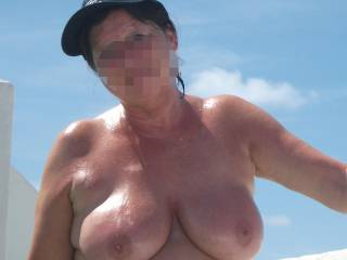 those glistening tits are giving me a massive hard-on. I want to titty-fuck you (and mouth-fuck you and pussy-fuck you and ass-fuck you and everything!)