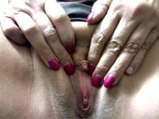 That is just such an awsome clit.  I want to fill that pussy with cum and then suck it all back out and let you lick it off my tongue.