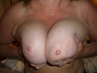 Oh an what a special pair they are. Can I slide my big hard cock between your big perfect tits? Wow they are nice.