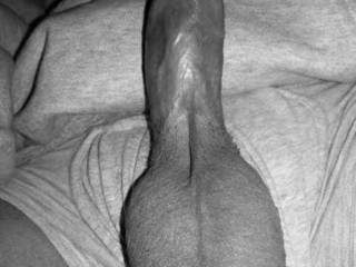 A black and white photo of my cock and balls in all its glory, what do you think?