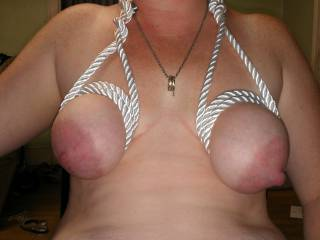 Look and how sex my tits are all tied up and ready for playtime