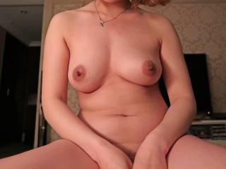 Sexy girl sitting on the top of me.   Lovely boobs, aren\'t they?