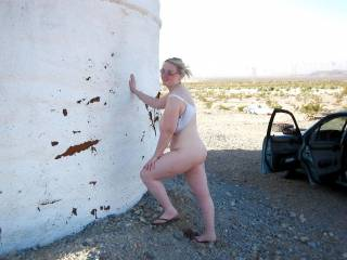 Pit stop in the desert for some fun in the shade of an abandoned cistern.