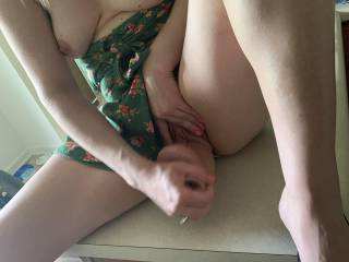 Fucking my wet pussy on the kitchen counter for my man to watch ;)