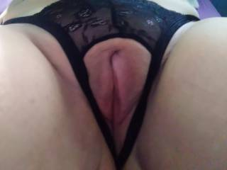 Plump pussy lips in my crotchless thong