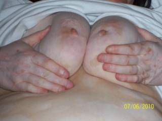 i want to rub the soft head of my hard cock on those sweet nipples and slide my cock between them for a titty fuck