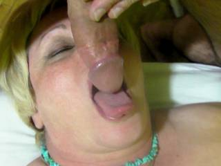 Let me rub my cock head against your hot tounge!