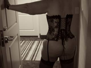 She was teasing me with little outfit under her business suit all evening, until we got to the hotel room.