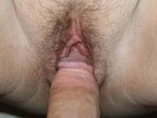 Fabulous pic of that magnificent cock with its big cut head penetrating wife's gorgeous pussy ready for the shaft to bury deep getting so wet with each thrust...wow has my cock throbbing to go next and then enjoy the wild clean up!