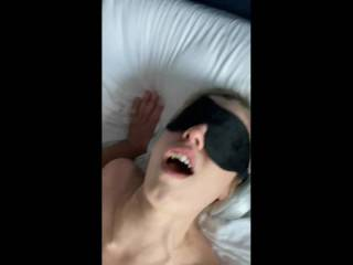 My newest fwb cumming while I fuck her with headphones to block her hearing and blindfold for sight. She likes to be a sub. She\'s 24. I\'m mid 50\'s.