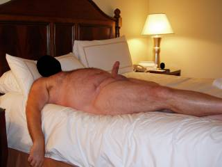 """Weekend getaway at a luxury resort.  2 females were standing outside our porch sliding glass door and had a great view of hubby\'s cock!  I heard them giggling and saying """"she is taking nude pics of him, take some pics with your phone""""!  Enjoy them ladies!"""