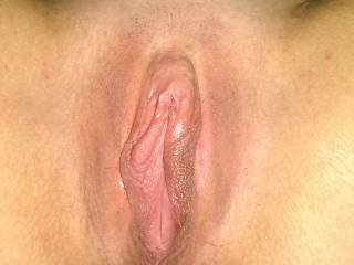 it's beautiful shaved!  Lovely cuntlips, so suckable....mmm so much fun to lick and suck a cunt wit h no hair in the way.  Nice!