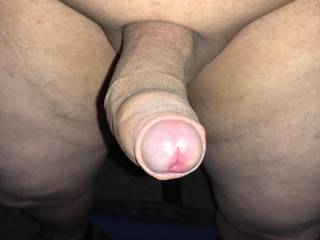 My shaved, uncut cock, waiting to be played with.