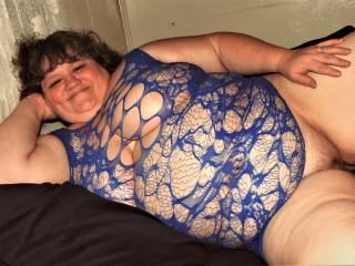 My new sexy blue fish-net that doesn\'t cover a whole lot. It keeps my hot pussy cool in the Summer though (unless it\'s being put to uses). Brings a smile thinking about you enjoying the view !