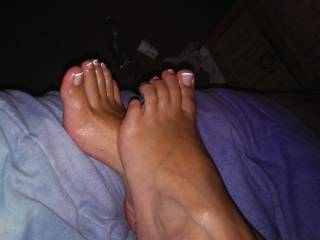 Just after shooting my hot load on her feet! The best feeling in the world...