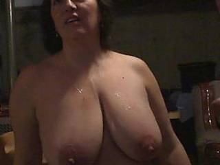 some spurted cum comfortably splattered on lovely big tits