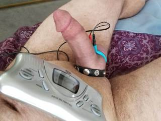 A little Saturday morning estim play. There\'s nothing like the orgasm you get from electricity pulsing through your balls