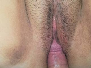 Easing his thick hard cock inside my chubby pussy - Would you like to go next?