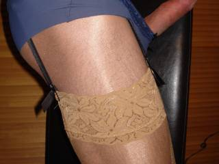 I like lace panties.  The kind that has a high waist band and that comes up high on the legs.  Would look great on you with that hard cock.  Add some dangling ear rings, fishnet stockings and heels.  I'm cumming just thinking about it/