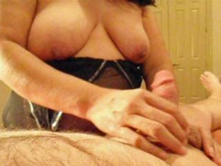 Great tits,you lucky man,I'm gonna jerk-off seeing her tits,and your handjob