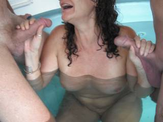 Fun in the spa at home, when our swinger friend came around again for a threesome.