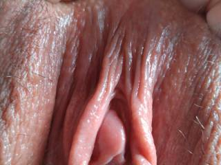 A close up of my big pussy and tiny hard clit.