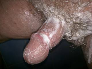 Wishing I was in the shower with him soaping up that sexy cock
