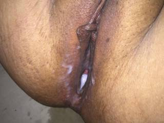 Filled my wife's slutty hole with a thick load of cum