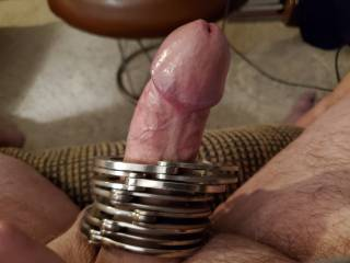 Stroking for a friend who wanted to see cuffs on my cock