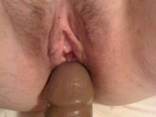 Still fucking my wife with this huge BBC Dildo.