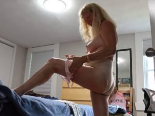 Johanne showing her long legs