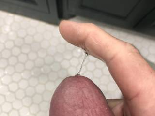 Getting a little excited and starting to leak precum