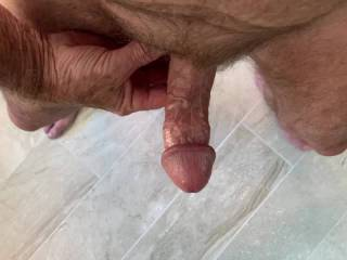 From my POV, Mr. F enjoying his cock.  Should I reach down and help him, or let him finish himself?  From Mrs. Floridaman