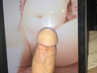 A stranger cocking a pic of my wife\'s pussy and tits.