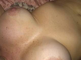 my big, horny, hard nippled breasts, love how he holds my boobs when he fucks me.  Wish I had a guy to suck my hard nipples while my man pounds my pussy and makes me cum!! His dick makes me cum!!