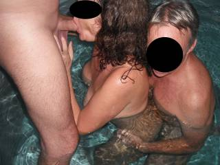 Fun in the spa with our swinger friend, when he came around for a threesome.