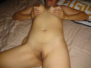 Took a nice load from the hubby.  Wanna see more.  Let us know.  I want to see big hard cocks cumming on my picture.