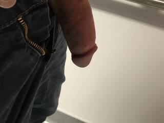 Half hard cock from the right side. Kiki thought I should post more dick pics even though they don't get as much attention. Would you like to be on your knees looking up at this cock?